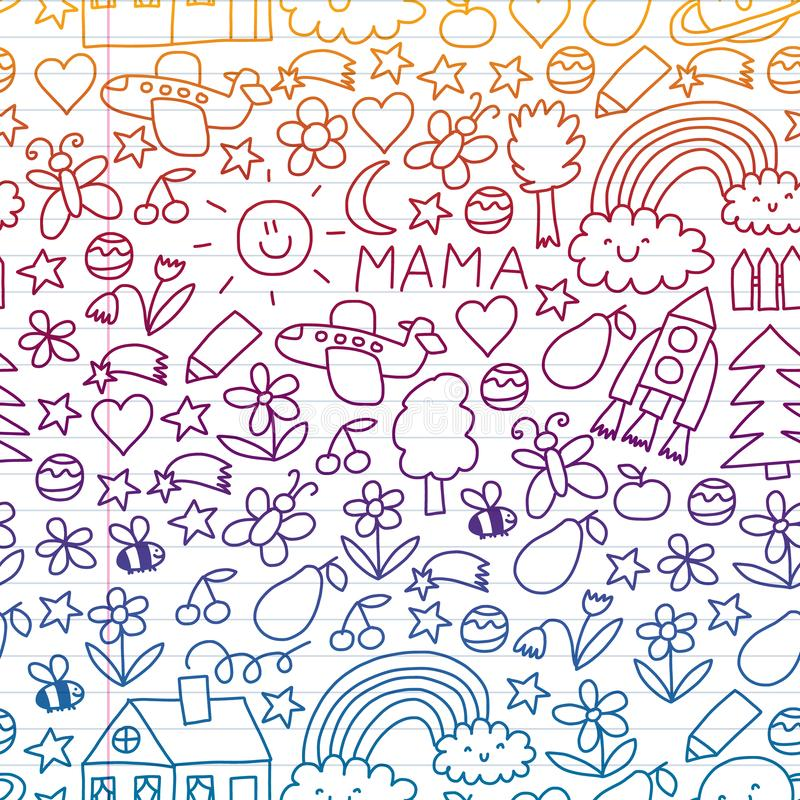Children drawing. Colorful vector pattern with toys, space, planet vector illustration