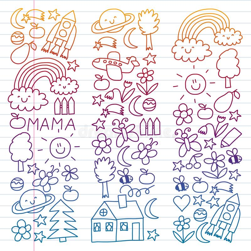 Children drawing. Colorful vector pattern with toys, space, planet stock illustration