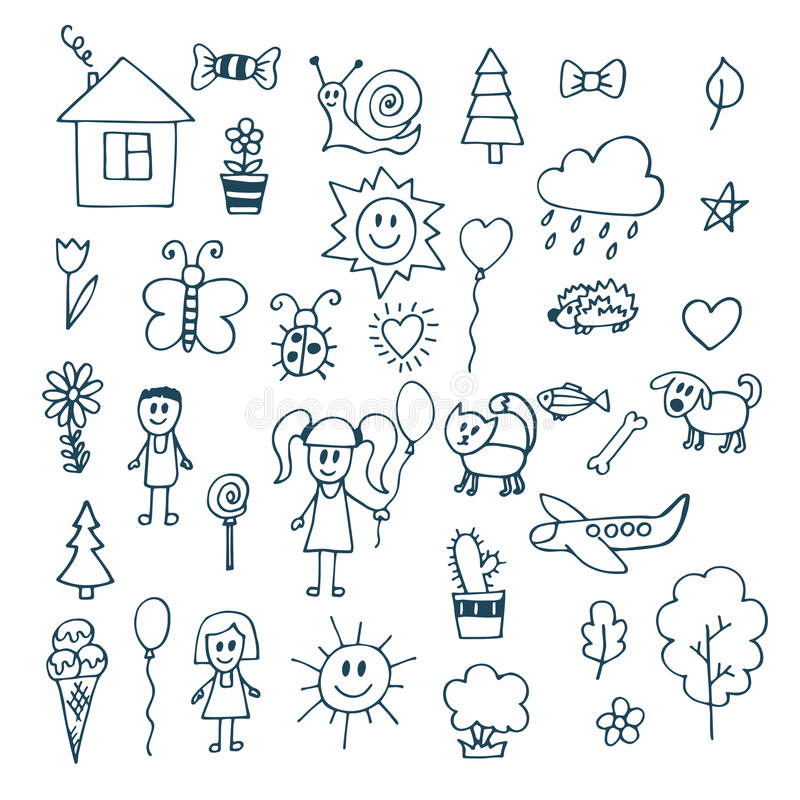 Children drawing. Doodle set of objects from a child's life royalty free illustration