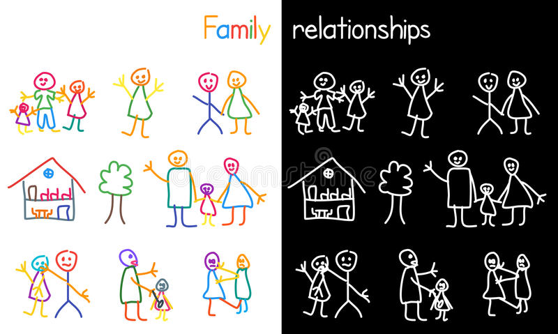 Children drawing family relationship vector illustration