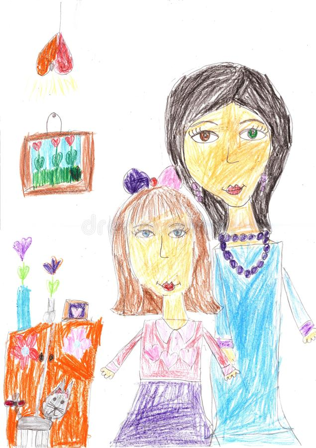 Children drawing of a happy family inside house. Housewife doing household chores royalty free illustration