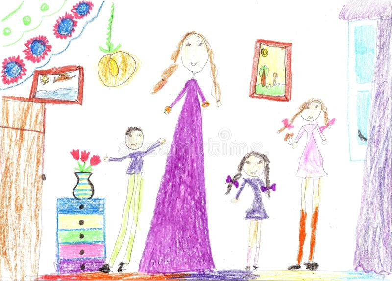 Children drawing of a happy family inside house. Housewife doing household chores stock illustration