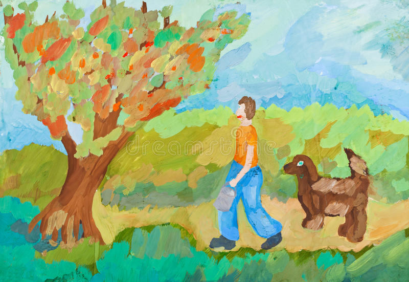 Children drawing - harvest in apple orchard vector illustration