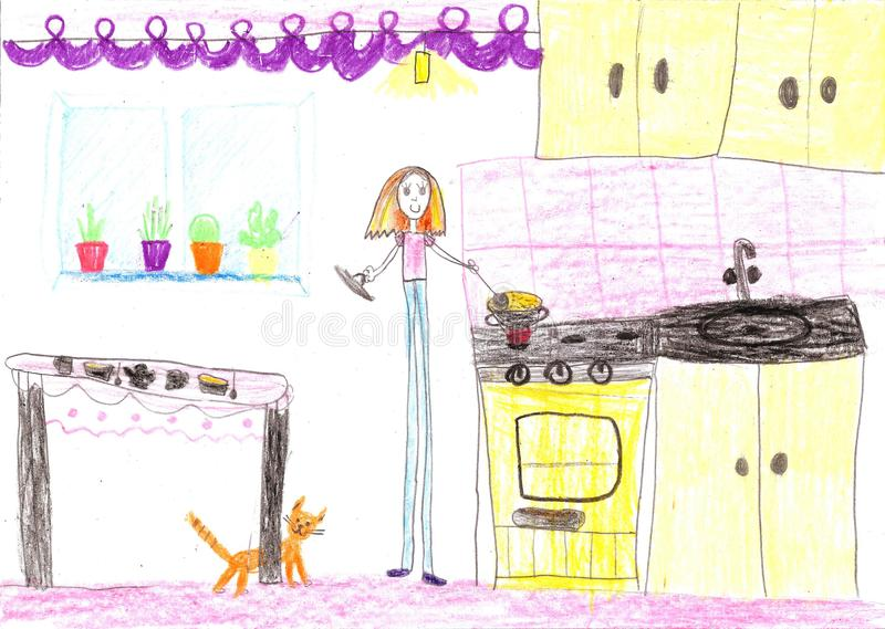 Children drawing.Housewife doing household chores like cleaning and cooking. Children drawing.Housewife doing household chores like cleaning, ironing, cooking royalty free illustration
