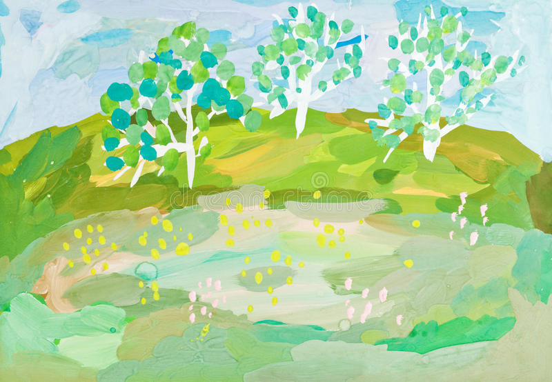Download Children Drawing - Landscape With Three Trees Stock Illustration - Image: 35614404