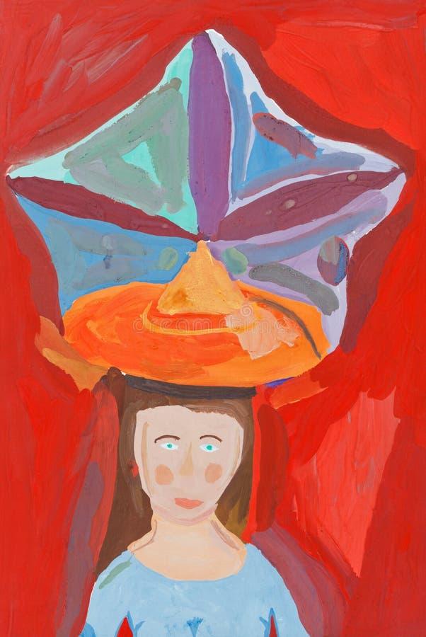 Download Children Drawing - Large Decorative Hat Stock Illustration - Image: 35614732