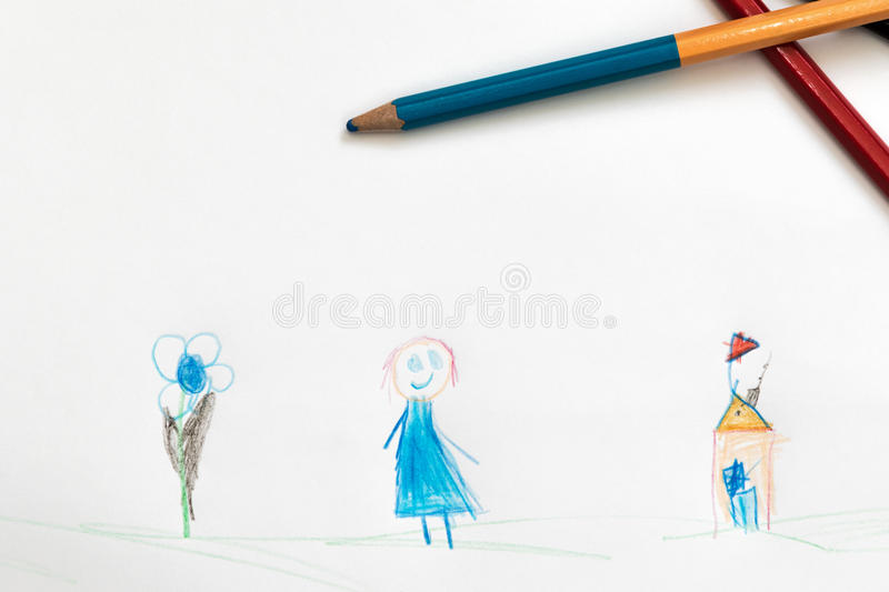 Children drawing a pencil royalty free stock photos