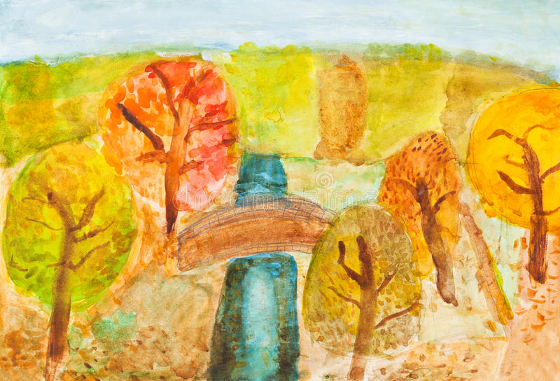 Children Drawing - River In Autumn Forest Stock Photos