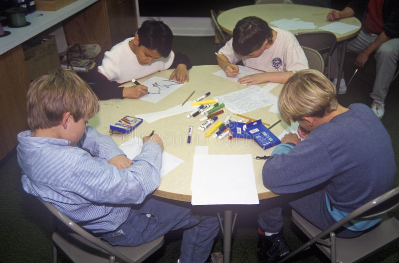 Children Drawing at the Sioux City Art Center, Iowa royalty free stock image