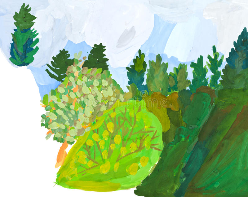 Children drawing - slope of hill in green forest vector illustration