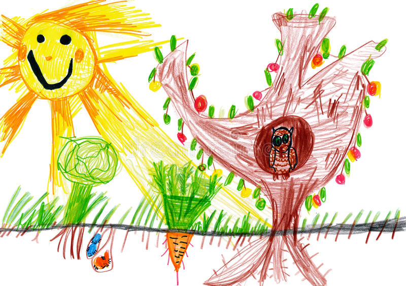 Download Children Drawing. Sunny Day And Owl Royalty Free Stock Images - Image: 27989079