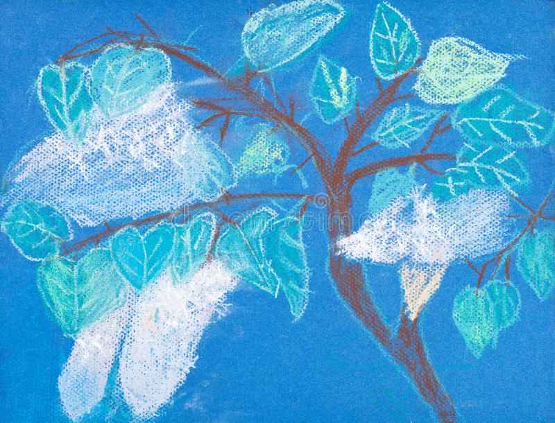 Download Children Drawing - Tree With White Blossom Stock Illustration - Image: 35614410