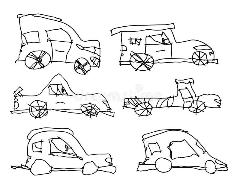 Children drawings of cars. stock vector. Illustration of children ...