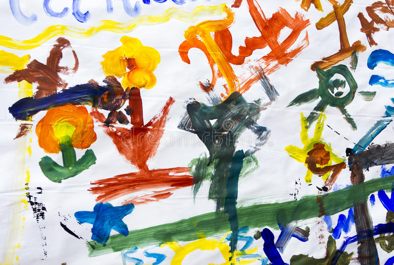 Children Drawings on Paper stock images