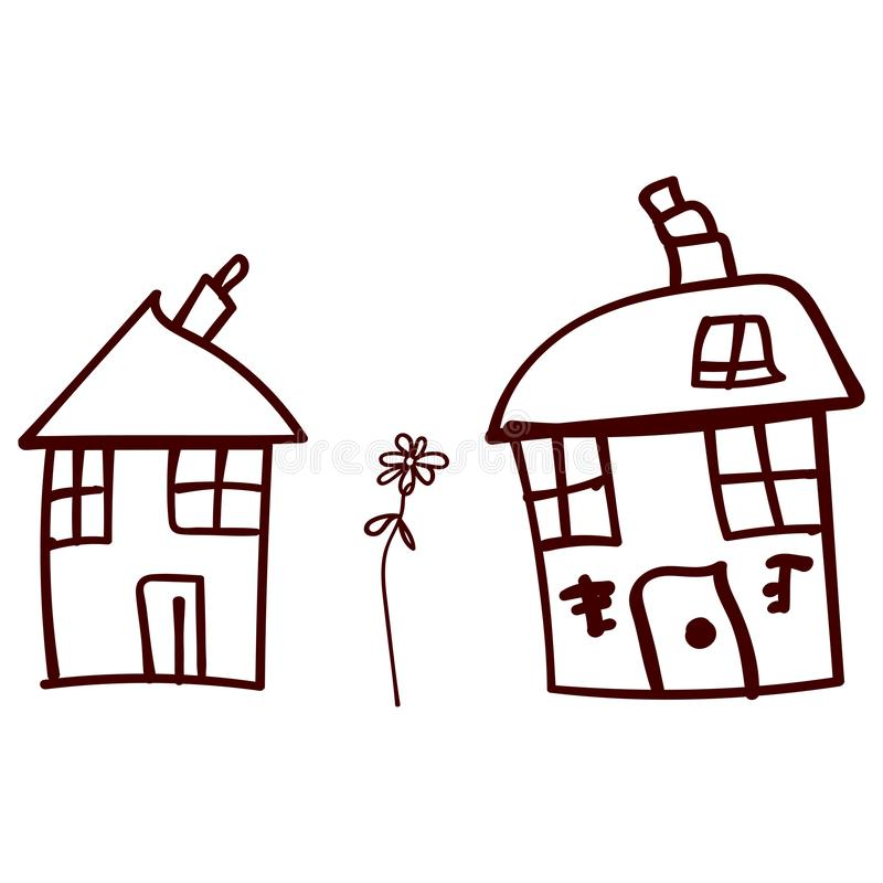 Children drawn houses and plants in doodle style. Contoured and isolated. illustration stock illustration