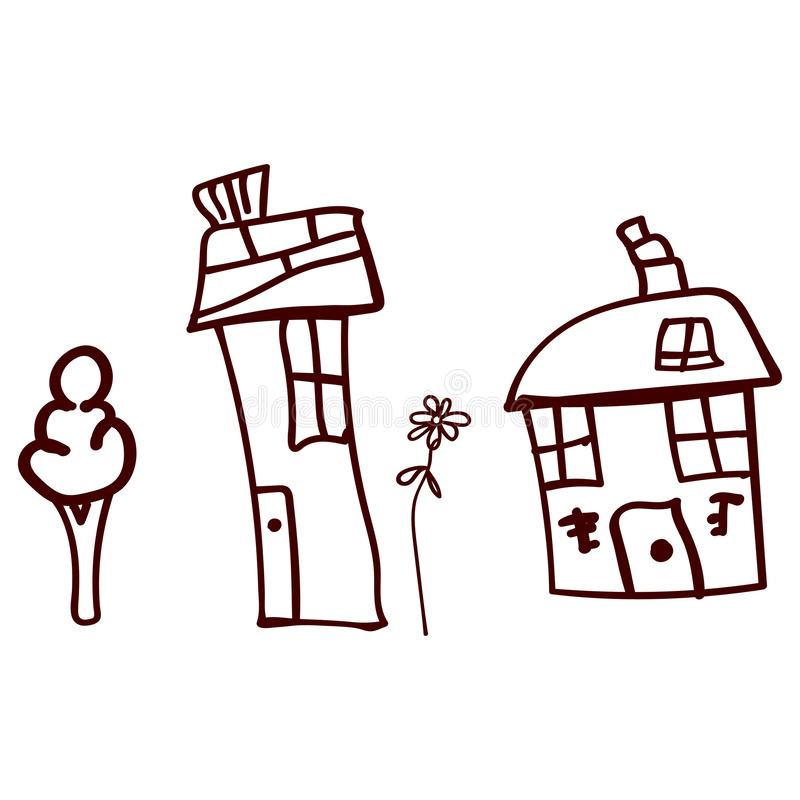 Children drawn houses and plants in doodle style. Contoured and isolated. Vector illustration vector illustration