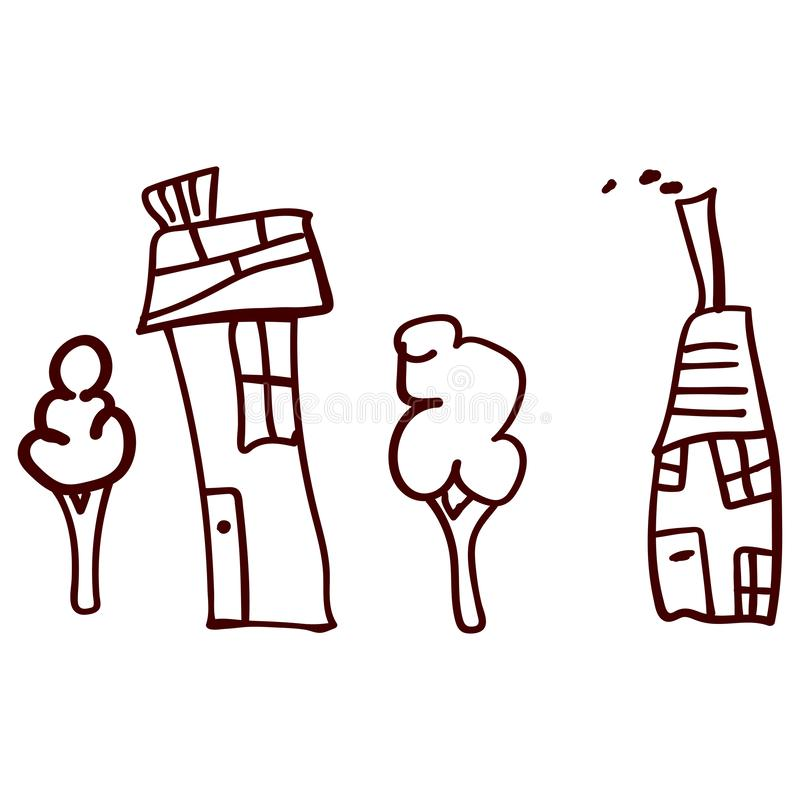 Children drawn houses and plants in doodle style. Contoured and isolated. Vector illustration royalty free illustration