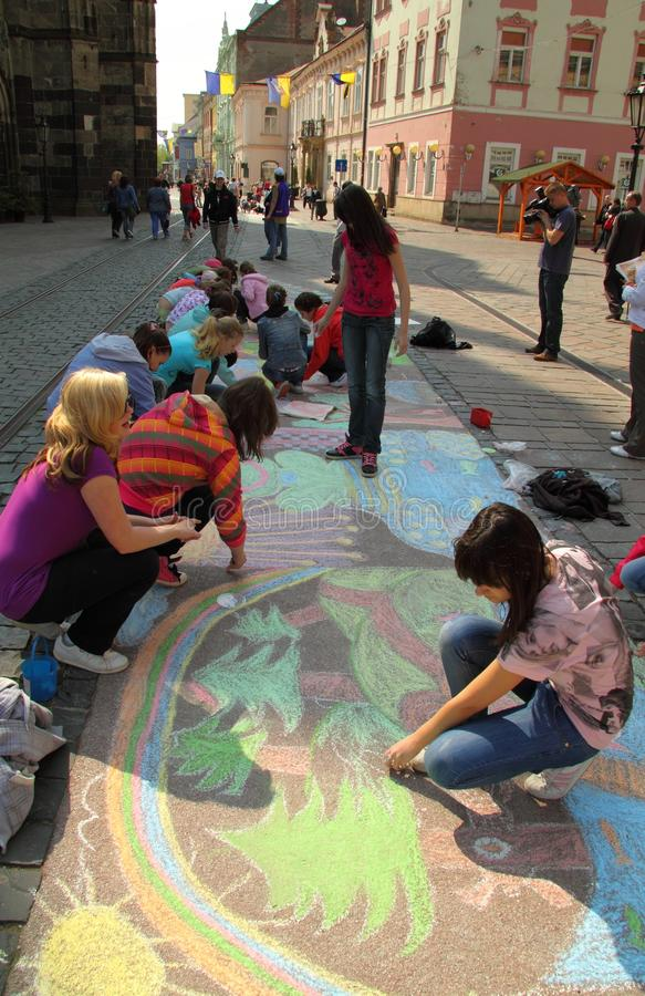 Children draw royalty free stock photo