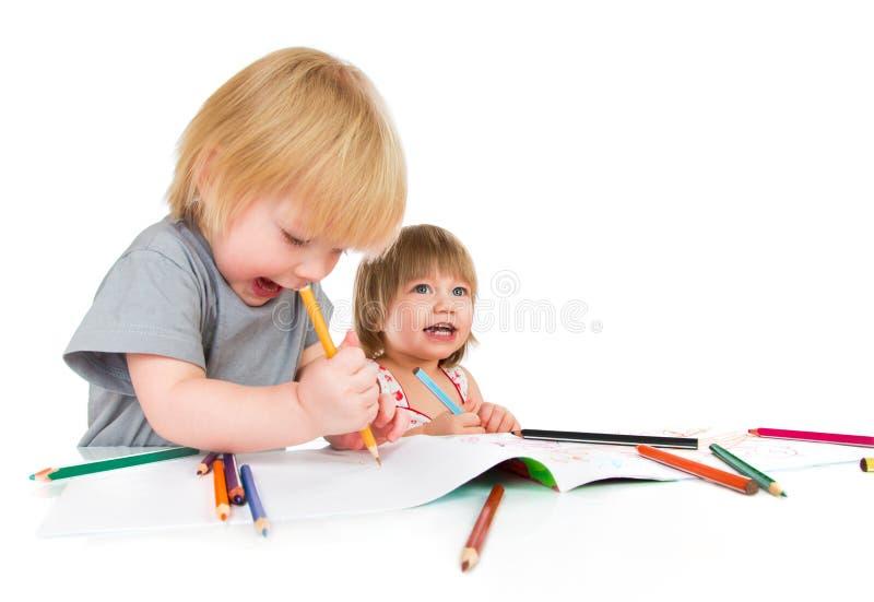 Children draws pencil royalty free stock photos