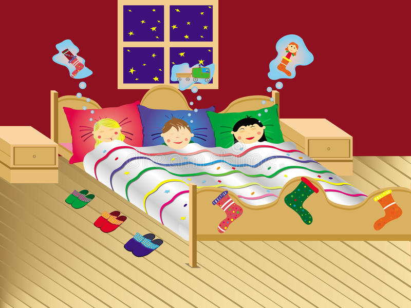 Children dreaming on the Christmas evening stock images