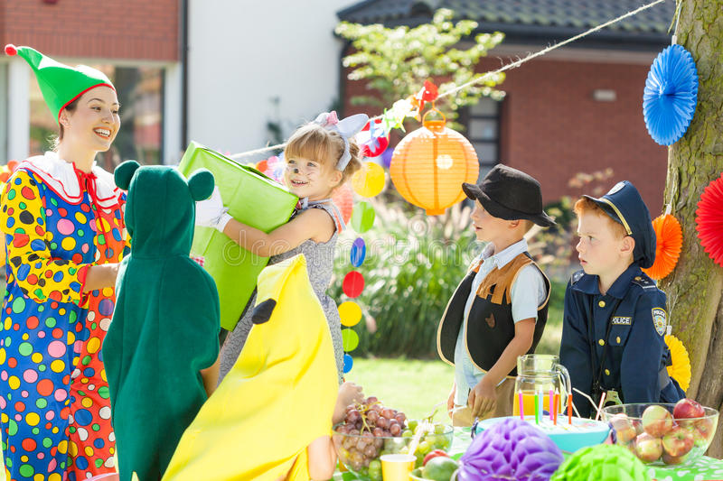 Children during dress up party royalty free stock image
