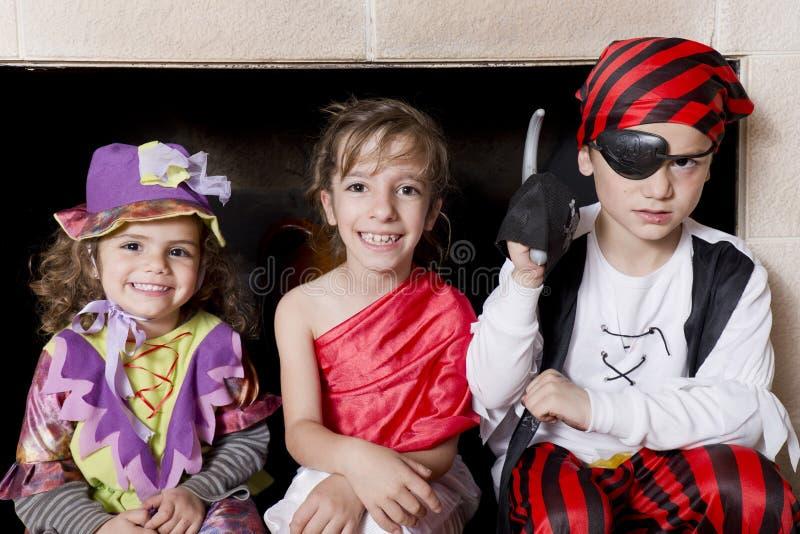Children dressed as pirates royalty free stock photos