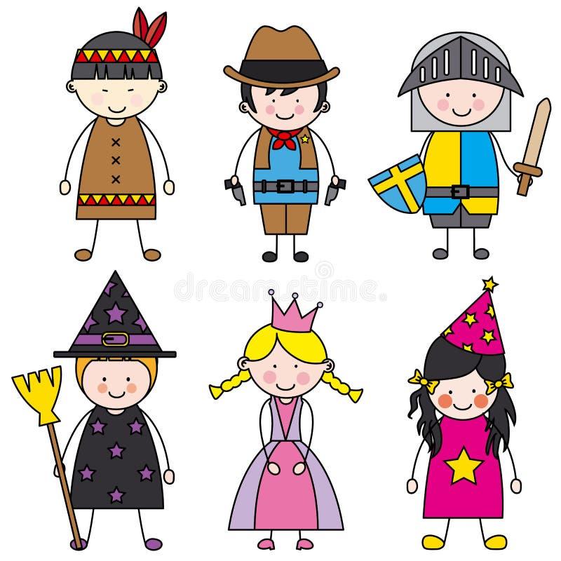 Children dressed vector illustration