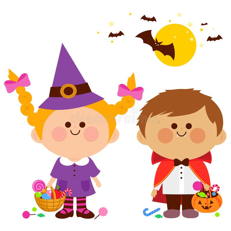 Children dressed in Halloween costumes hold buckets with candy. royalty free illustration
