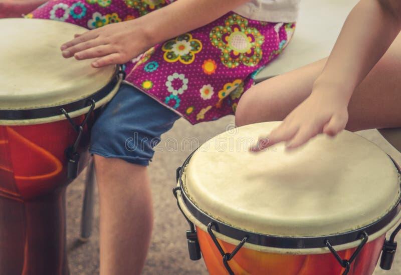 Children Drumming Detail. An Action Music Shot Of Children Drumming stock photo
