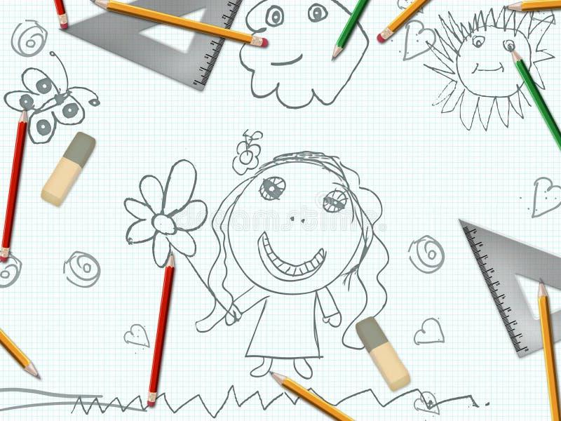 Children dziewczyny rysunku szkoły ołówkowy biurko ilustracja wektor