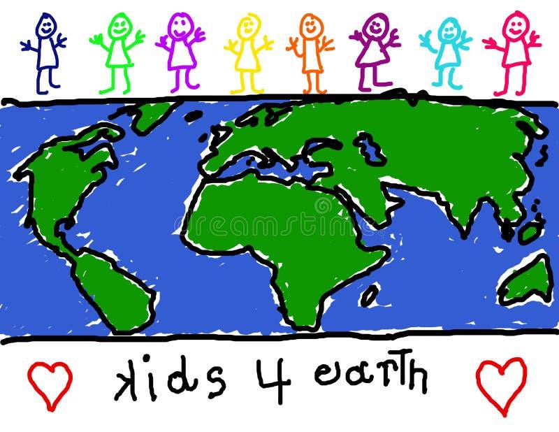 Children for earth awareness vector illustration
