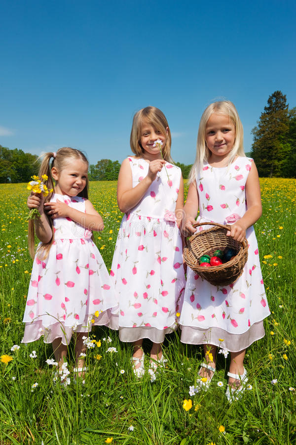 Children on an Easter egg hunt royalty free stock image