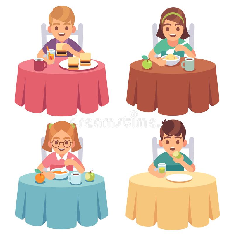 Children eating. Kids eat dinner table child breakfast lunch fast food dining girl boy cartoon characters set vector illustration