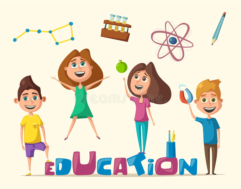 Children And Education Banner Cartoon Vector Illustration Stock Vector Illustration Of Campus Isolated 89575034