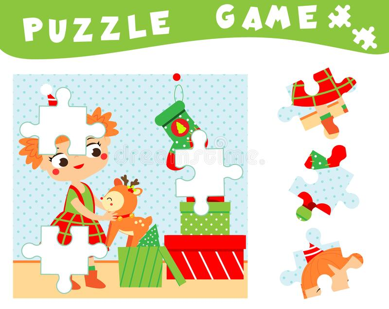 Children educational game. Christmas and new year puzzle for toddlers, babies and kids. Place missing parts of picture royalty free illustration