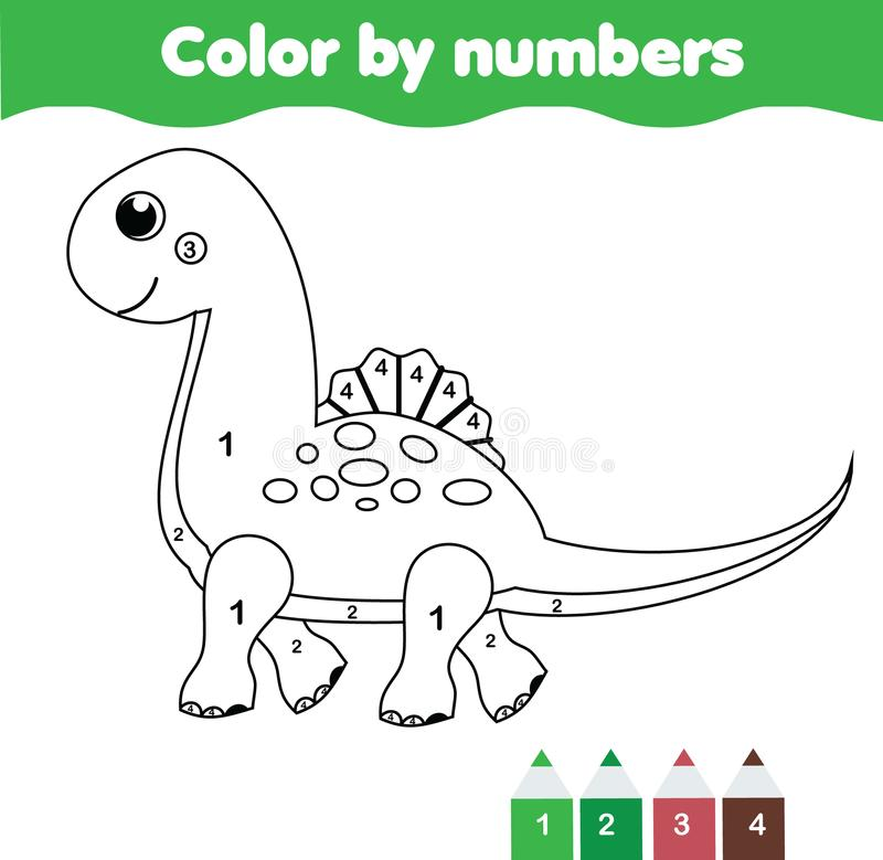 children educational game coloring page with cute dinosaur color by numbers printable. Black Bedroom Furniture Sets. Home Design Ideas