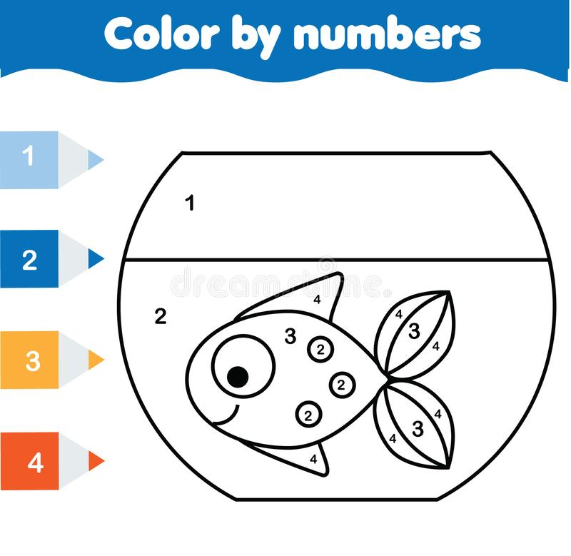 Children educational game. Coloring page with fish in aquarium. Color by numbers, printable activity royalty free illustration