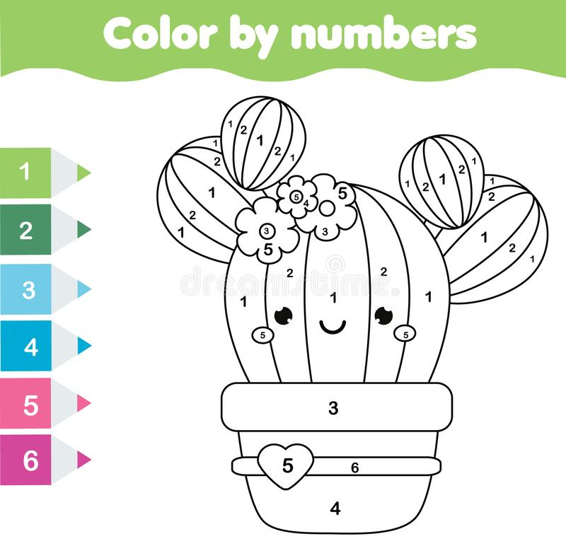 Free Children Educational Game. Coloring Page With Cute Cactus. Color By Numbers, Printable Activity Stock Photo - 108245240