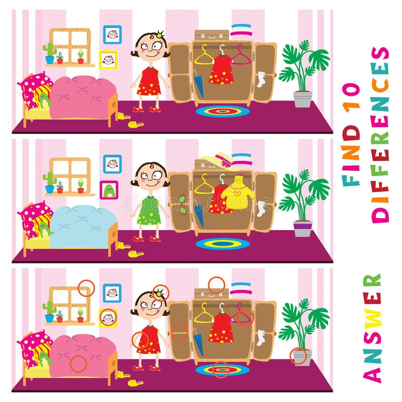 Children educational game of find ten differences. Vector funny activity stock illustration