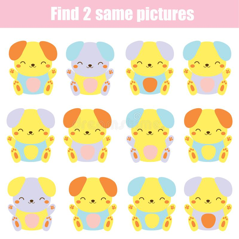 Children educational game. Find two same pictures. Cute dogs. Activity fun page for toddlers and babies vector illustration