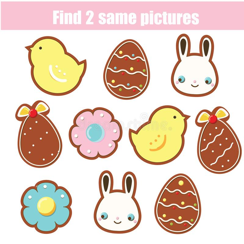 Children educational game. Find two same pictures. Easter cookies. Activity fun page for toddlers and babies royalty free illustration