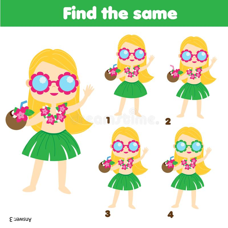 Children educational game. Find two same pictures. Summer holidays theme. Activity fun page for toddlers and babies stock illustration