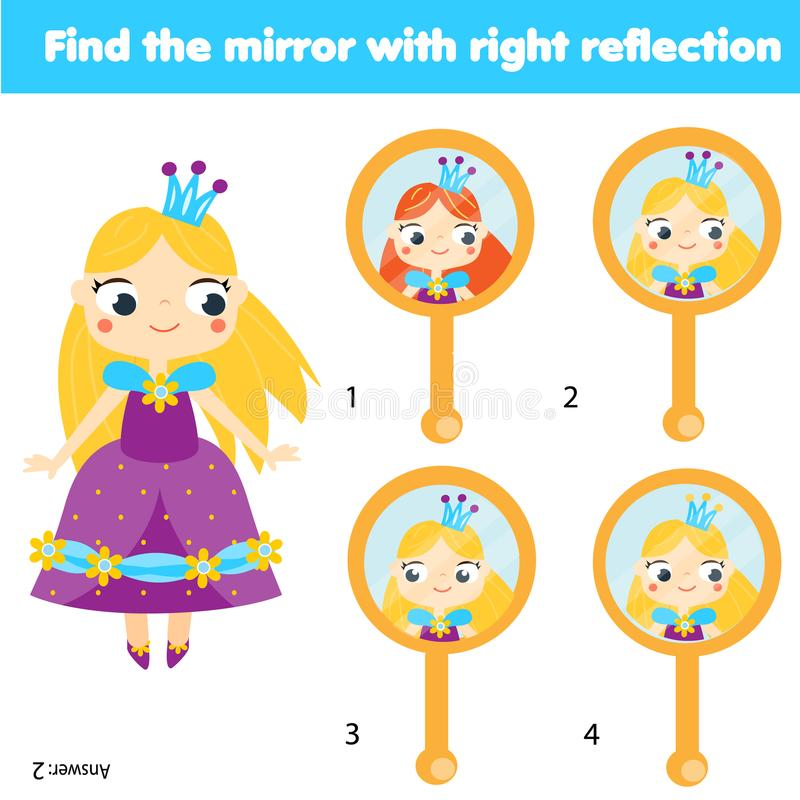Children educational game. Matching pairs. Find the correct reflection in mirror vector illustration