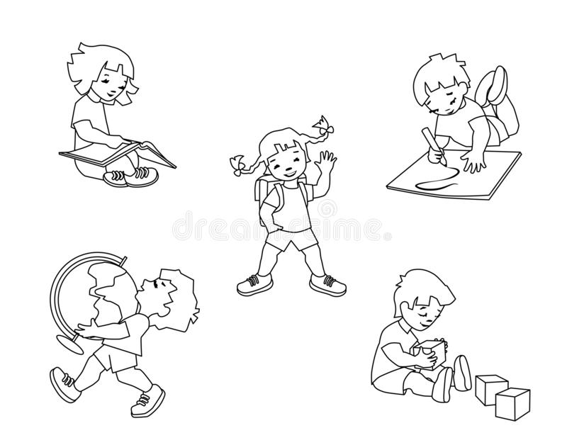Children in elementary school. Kids drawing, learning, reading, playing. stock photography