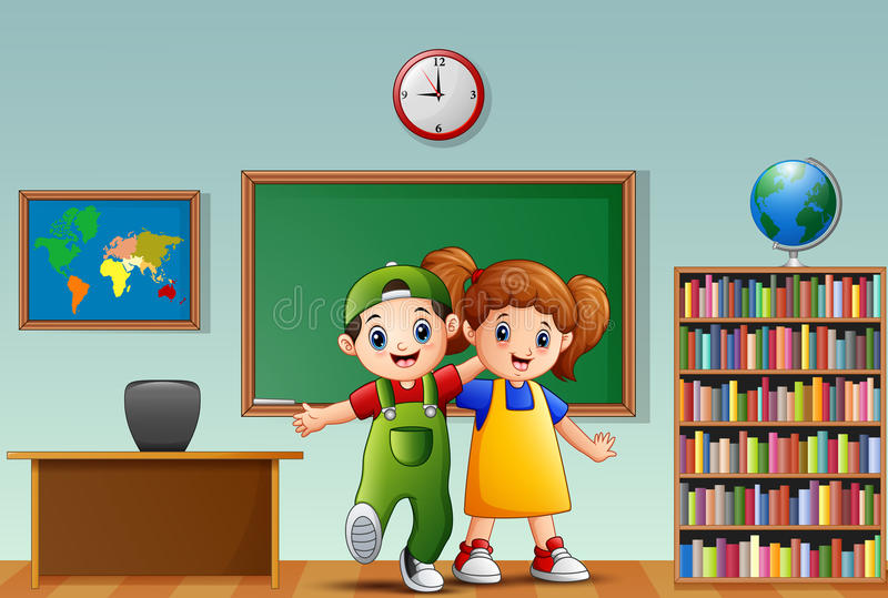 Children embrace each other standing in the front of classroom vector illustration