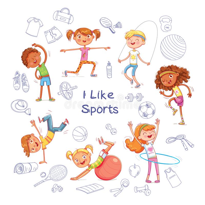 Children are engaged in different kinds of sports on the background of various sports equipment. Fitness. Children are engaged in different kinds of sports on stock illustration