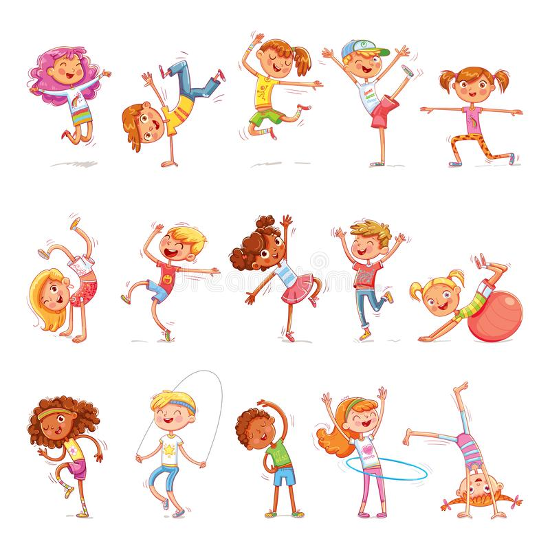 Children are engaged in different kinds of sports. Fitness. Dancing breakdance. Funny cartoon colorful character. Isolated on white background. Vector royalty free illustration