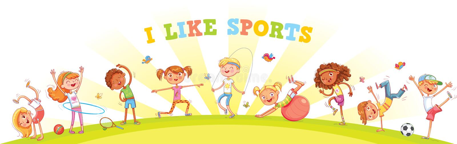Children are engaged in different kinds of sports on nature background. Children`s panorama for your design. Template for advertising brochure or web site royalty free illustration