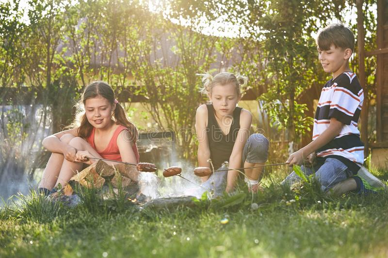 Children enjoy campfire royalty free stock images