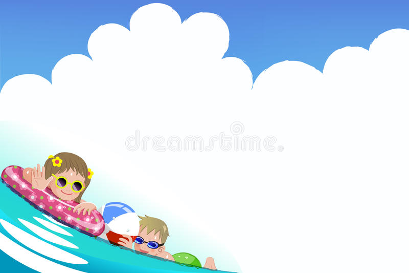 Children enjoying bath time. File contains Gradients, Gradient Mesh, Envelope Distort royalty free illustration